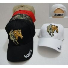 24 Units of Two Horses Hat [HORSE on Bill] - Baseball Caps & Snap Backs