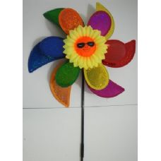"60 Units of 15"" Double Flower Petal Wind Spinner-Rainbow & Sunflower - Wind Spinners"