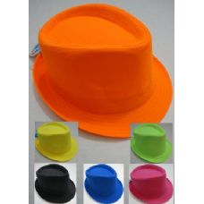 120 Units of Fedora Hat-Neon Colors - Fedoras, Driver Caps & Visor