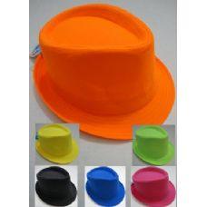 48 Units of Fedora Hat-Neon Colors - Fedoras, Driver Caps & Visor