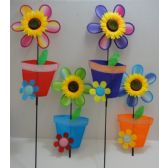 "120 Units of 11"" Wind Spinner-Sunflower & Flower Pot - Wind Spinners"