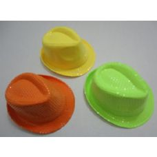 40 Units of Fedora Hat-Neon with Sequins - Fedoras, Driver Caps & Visor