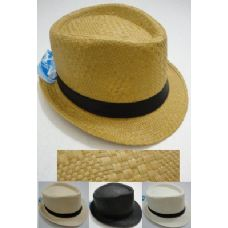 48 Units of Fedora Hat-Paper Straw - Fedoras, Driver Caps & Visor