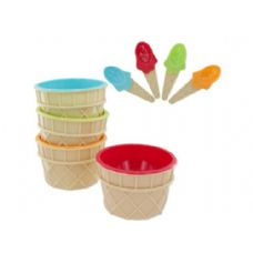 12 Units of 4pc ice cream bowl/spoon - Kitchen Utensils