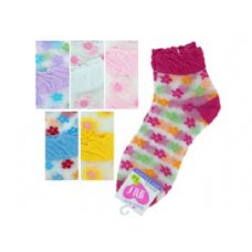 108 Units of mid cut flowers 6-8 socks - Womens Ankle Sock