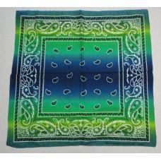 48 Units of Bandana-Blue/Green Paisley [Fade] - Bandanas