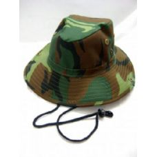 36 Units of Camo Hat With Neck Strap - Cowboy & Boonie Hat