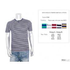 36 Units of Mens Henley Stripe T-Shirt M-XXL - Mens T-Shirts