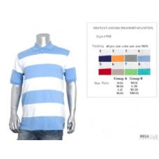 36 Units of Mens Cut & Saw Wide Stripe Polo Shirt S-XL - Mens Polo Shirts