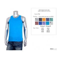 24 Units of Mens Solid Tank Top Marl Fabric M-XXL - Mens T-Shirts