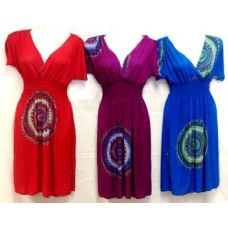 36 Units of Solid Color Short Dress with V Neck Circle Design - Womens Sundresses & Fashion