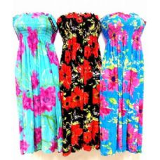 60 Units of Medium Length Tube Dress Assorted Colors - Womens Sundresses & Fashion