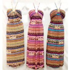 36 Units of Long Cultural Print Strap Neck Dress - Womens Sundresses & Fashion
