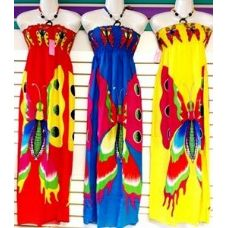 24 Units of Long Length Bright Butterfly Print Dresses - Womens Sundresses & Fashion