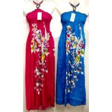 24 Units of Long Dress Peacock Prints Assorted - Womens Sundresses & Fashion