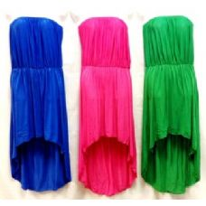 24 Units of High Low Tube Solid Color Dresse - Womens Sundresses & Fashion