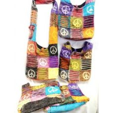 24 Units of handmade Hobo Crossbody Sling Purse Peace Signs - Handbags
