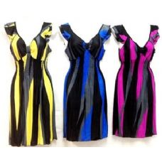 36 Units of Short Stripped Dresses with Ruffle Shoulder - Womens Sundresses & Fashion