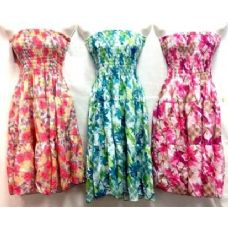 36 Units of Tube Dresses Smoked Top Floral Light Weight Dresses - Womens Sundresses & Fashion