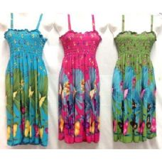 12 Units of Simple Strap Butterfly Printed Dresses Assorted - Womens Sundresses & Fashion