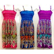 36 Units of Simple Strap Short Dresses 042H with Paisley Prints - Womens Sundresses & Fashion