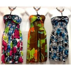 36 Units of Dresses Beaded Neck Bright Colors Knee High - Womens Sundresses & Fashion