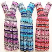 12 Units of Above Ankle Length Chevron V Neck Dress Assorted - Womens Sundresses & Fashion