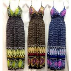 36 Units of Simple Adjustable Strap Long Cultural Printed Dresses - Womens Sundresses & Fashion