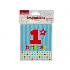 144 Units of 8 pack 1st birthday invites - Party Novelties