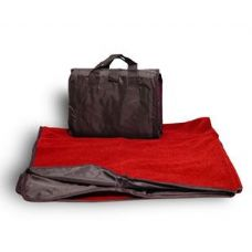 24 Units of Fleece/Nylon Picnic Blanket Red Color - Fleece Blankets / Throws