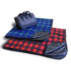 24 Units of Fleece/Nylon Picnic Blanket Blackwatch Color