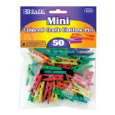 288 Units of BAZIC Mini Colored Clothes Pin (50/Pack) - Clothes Pins