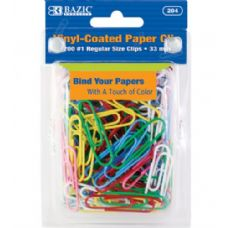 24 Units of BAZIC No.1 Regular (33mm) Color Paper Clips (200/Pack) - CLIPS/FASTENERS