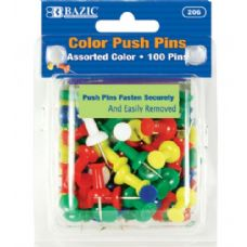 48 Units of BAZIC Assorted Color Push Pins (100/Pack) - Push Pins and Tacks