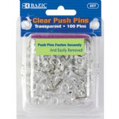 24 Units of BAZIC Clear Transparent Push Pins (100/Pack) - Push Pins and Tacks