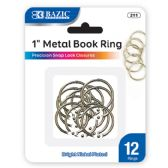 "24 Units of BAZIC 1"" Metal Book Rings (12/Pack) - CLIPS/FASTENERS"