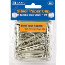 24 Units of BAZIC Jumbo (50mm) Silver Paper Clip (100/Pack) - CLIPS/FASTENERS