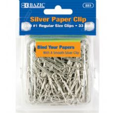 48 Units of BAZIC No.1 Regular (33mm) Silver Paper Clips (200/Pack) - CLIPS/FASTENERS