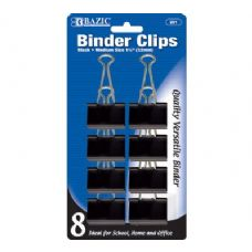 "60 Units of BAZIC Medium 1 1/4"" (32mm) Black Binder Clip (8/Pack) - CLIPS/FASTENERS"