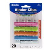 "48 Units of BAZIC Small 3/4"" (19mm) Assorted Color Binder Clip (20/Pack) - CLIPS/FASTENERS"