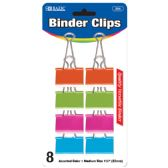 "48 Units of BAZIC Medium 1 1/4"" (32mm) Assorted Color Binder Clip (8/Pack) - CLIPS/FASTENERS"