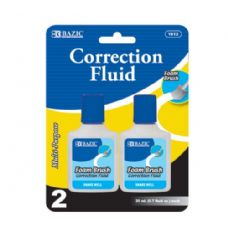 48 Units of BAZIC 20ml/0.7 fl. oz. Correction Fluid w/ Foam Brush (2/Pk) - Correction Items