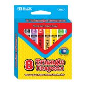 36 Units of BAZIC 8 Color Premium Quality Super Jumbo Triangle Crayon - Chalk,Chalkboards,Crayons