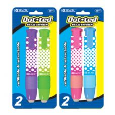 48 Units of BAZIC Dot.ted Retractable Stick Erasers (2/Pack) - ERASERS