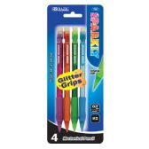 48 Units of BAZIC Sparkly 0.7mm Mechanical Pencil w/ Glitter Grip (4/Pk) - PENCILS