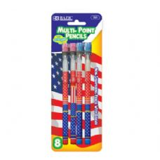 24 Units of BAZIC US Flag Multi-Point Pencil (8/Pack) - PENCILS