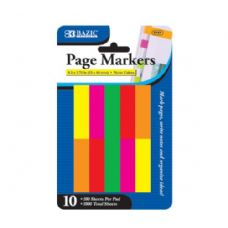 "24 Units of BAZIC 100 Ct. 0.5"" X 1.75"" Neon Page Marker (10/Pack) - Dry Erase"
