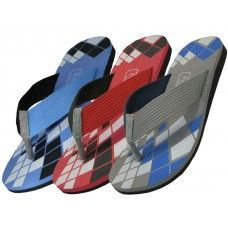 36 Units of Men's Checkered Sport Flip Flops
