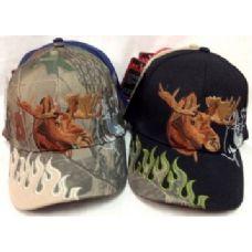 48 Units of Moose Adjustable Baseball Hats Caps Flames on Lid