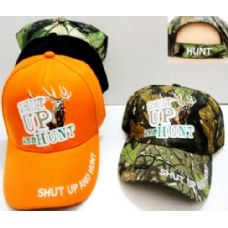 48 Units of Hunting Baseball Hats Shut UP and Hunt Buck Design - Hunting Caps